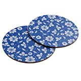 2 Pcs 16CM Creative Round Cork Cup Coasters Non-slip Flower Pattern Potholder Insulation Mats Pads Home Decor(Butterflies in Love with Flowers)
