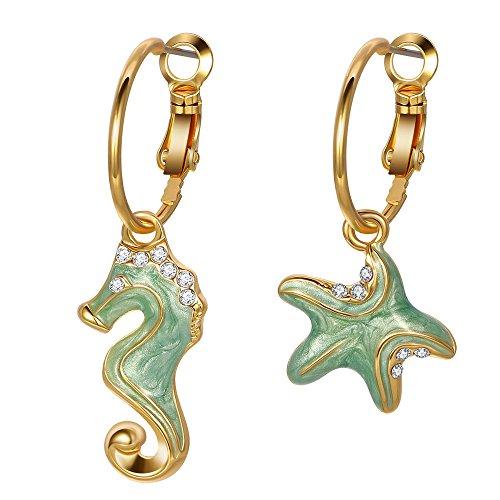 Kemstone Asymmetric Gold Starfish Sea Horse Dangle Earrings Women Jewelry with Green Enamel