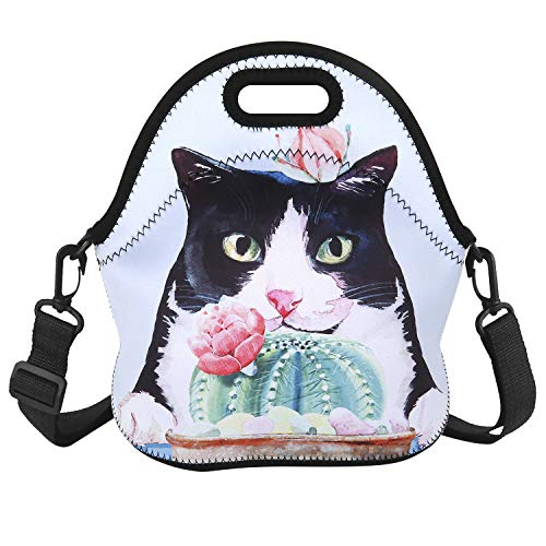 Neoprene Lunch Bag Insulated Cute Cactus Cat Printed Lunch Tote Box Waterproof for Girls Teens with Adjustable Detachable Strap Picnic Lunch Bag Mom Bag