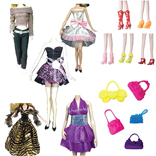 [MIWIND Lot 15= 5-Pack Doll Clothes+5-pack shoes+5-pack handbags for Barbie Handmade Wedding Dress Party Gown Clothes Outfits for Girl's Birthday] (Nutcracker Costumes For Sale)