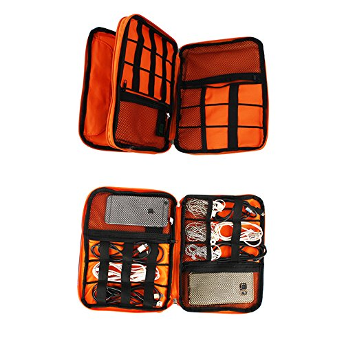 Portable Double Layer Electronic Accessories Organizer Travel Bag for Data Cable, Earphones, IPad Mini, USB, Mobile Phone, Power Bank Large Bag Grey Orange by Softcloudy (Image #4)
