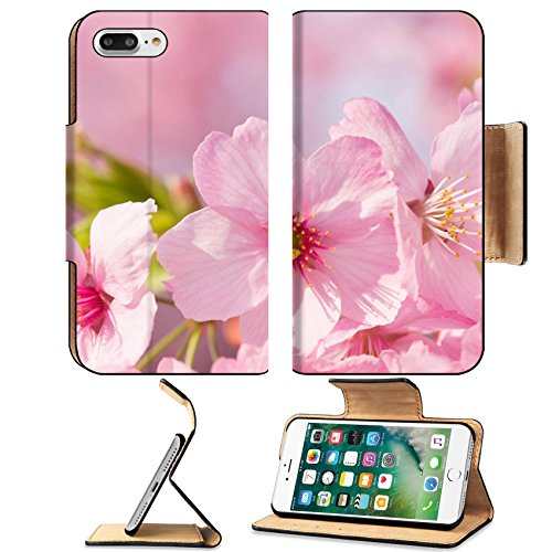 MSD Premium Apple iPhone 7 Plus Flip Pu Leather Wallet Case IMAGE ID: 27873631 Shining pink cherry blossom