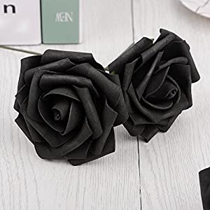Artificial Flowers Dark Orange Roses Real Looking Fake Roses DIY Wedding Bouquets Centerpieces Arrangements Party Baby Shower Home Decorations 4