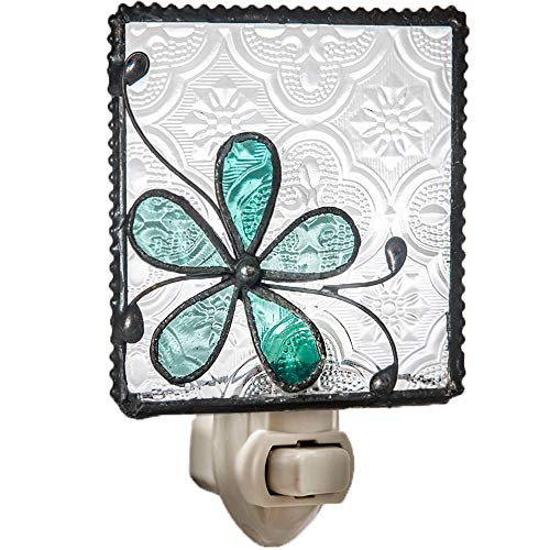 J Devlin NTL 129-3 Stained Glass Aqua Blue Flower Night Light Decorative Bedroom Bathroom Nursery Accent (Turquoise Handcrafted Lamp)