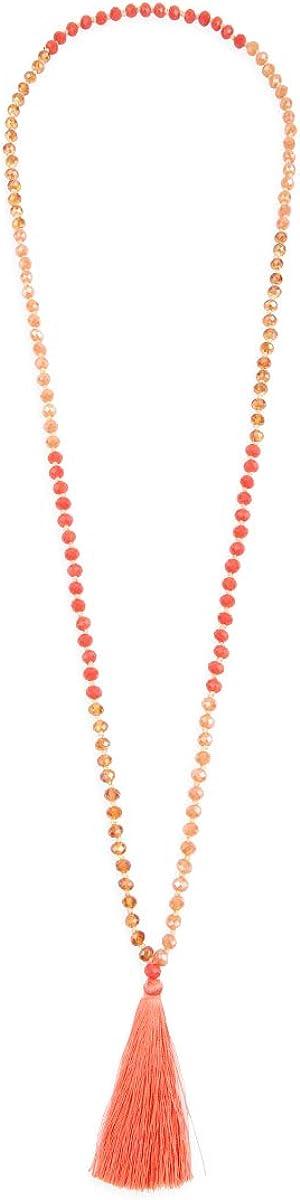 Bohemian Tassel Pendant Beaded Long Statement Necklace Sparkly Crystal Bead Boho Teardrop Natural Stone Silky Thread Fringe