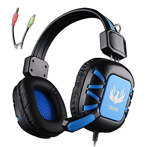 Gaming Headset AFUNTA 3.5mm Stero Over Ear Wired GT G1 Gaming Headphone with Microphone Volume Control Noise Reduction Compatible PC Laptop Apple iphone 6 6s plus Samsung Smartphones Tablet-Black/Blue