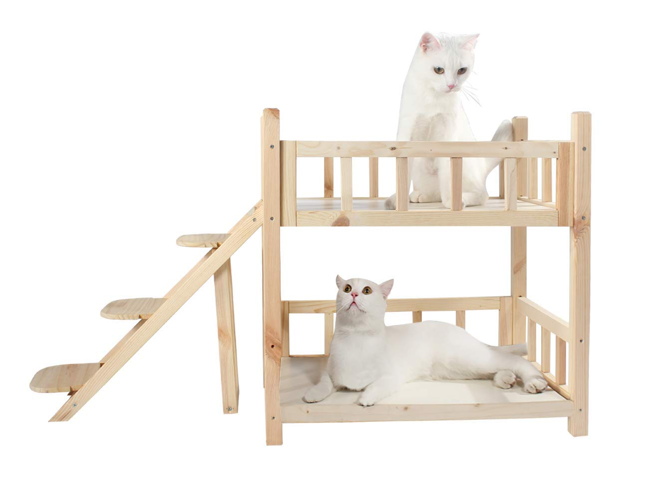 ROCKEVER Wooden Pet Bunk Bed Indoor,Dog Bed Small for Two Pets No Paint by ROCKEVER