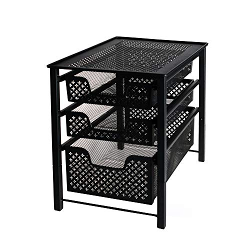 MustQ Stackable 3 Tier Organizer Baskets With Mesh Sliding