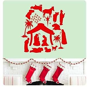 Diy nativity scene christmas jesus wall decal for Christmas wall art amazon