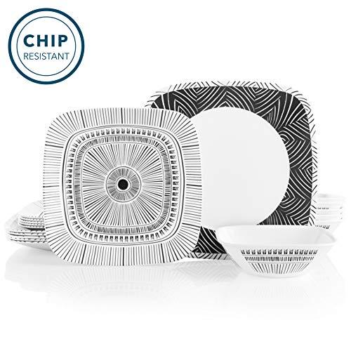 Corelle 18-Piece Service for 6, Chip Resistant Dinnerware Set, Imani (Dinnerware Set Corelle Square)
