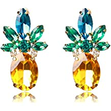Women or Girl's Vibrant Color Pineapple Earrings Jewelry Gold Color Stud Earring With Crystal Beads for Beach Wedding Party Outfits With Wmao Bag
