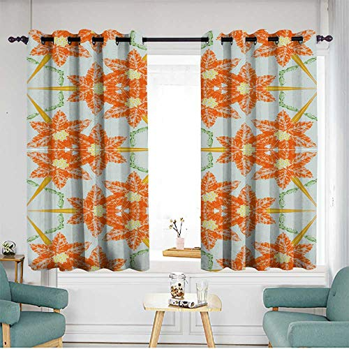 (home1love Grommet Window Curtains for Bedroom Grommet Drapes W 63