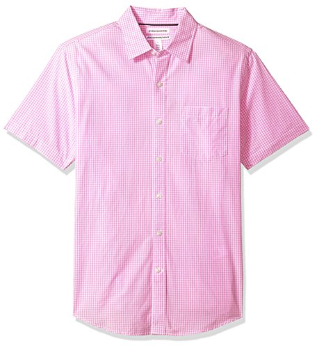 (Amazon Essentials Men's Slim-Fit Short-Sleeve Casual Poplin Shirt, Pink Gingham, Medium)