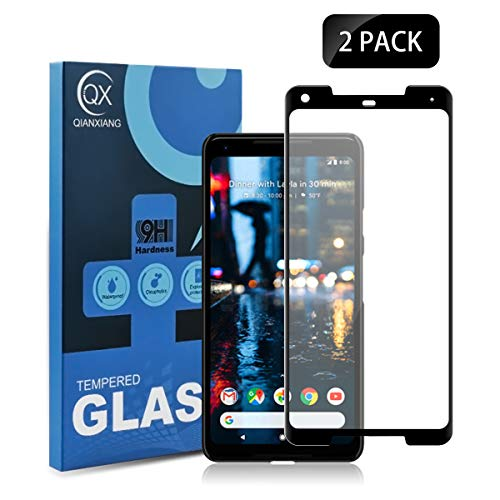 QIANXIANG Screen Protector Tempered Glass,[Full Coverage][3D Upgraded Curved Screen][2.5D Arc Edges][9H Hardness][Anti-Scratch] HD Clear Tempered Glass Screen Protector Compatible Google Pixel 2