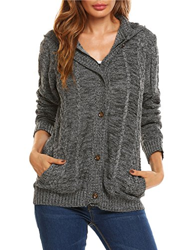 Knit Hooded Sweater (Women Button Cardigan With Pockets lightweight hooded Coat Knit Cardigan Sweater Blouse Top)