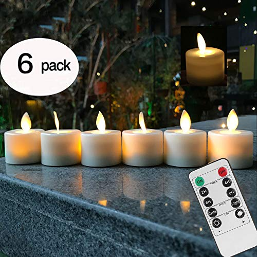 Remote Control LED Tea Light Fake Flameless Candles with Timer,Battery Operated Warm White Window Pillar Candle Bluk with Dancing Flickering Bulb for Christmas/Wedding/Birthday Party-Pack of -