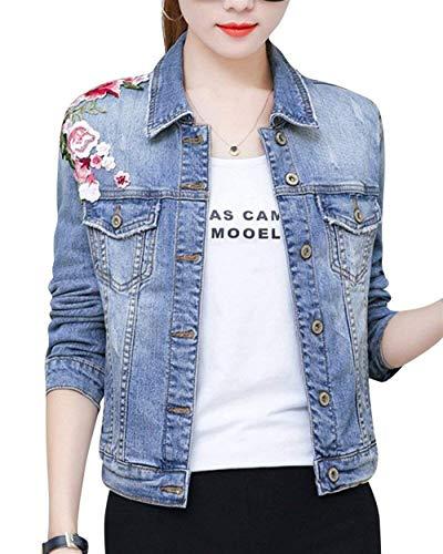 Corto Anteriori Donna Confortevole Single Jeans Ragazza Tasche Cappotto Giovane Bavero Aspicture Breasted Ricamo Elegante Manica Lunga Autunno Moda Chic Giacche Giaccone Floreale 4TwEZUqxw