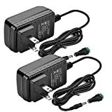 DC12V 2A Power Supply Adapter, SANSUN AC100-240V to DC12V Transformers, Switching Power Supply for 12V LED Strip Lights, 12 Volt 2 Amp Power Adaptor, 2.1mm X 5.5mm US Plug (Pack of 2)