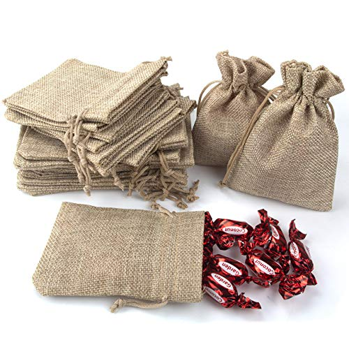 - CenterZ Burlap Drawstring Bags Set of 20, 5.5 x 4 4.8 x 3.5 Two Size Rustic Storage Sack Small Favor, Gift, Treat, Goodie, Party, Jewelry, Little Sachet, Coffee Bean, Candy, Mini Craft (Linen)