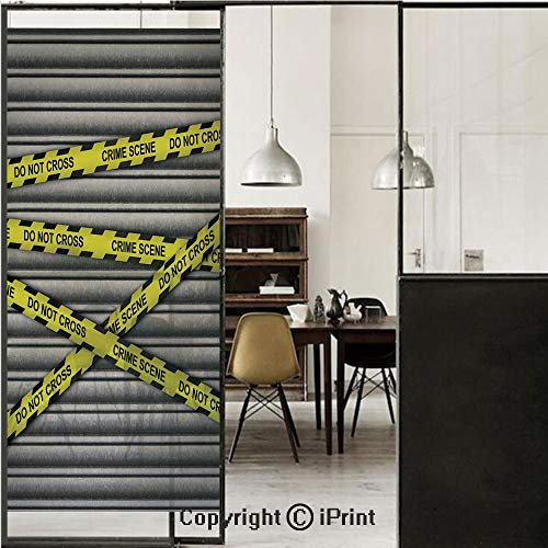 Police Decor 3D Decorative Film Privacy Window Film No Glue,Frosted Film Decorative,Crime Scene Investigation Do Not Pass Yellow Wraps Quotes Artwork Print,for Home&Office,17.7x70.8Inch Yellow Grey Bl ()