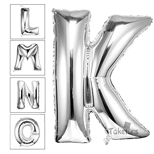 Takefuns 40 Inch Silver Alphabet I Balloon Birthday Party Halloween Christmas Decorations Helium Foil Mylar Letter Balloon(Silver,K) (Party City Number Balloons)