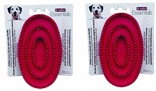 Le Salon Essentials Rubber Curry Dog Grooming Brush with Loop Handle [Set of 2]
