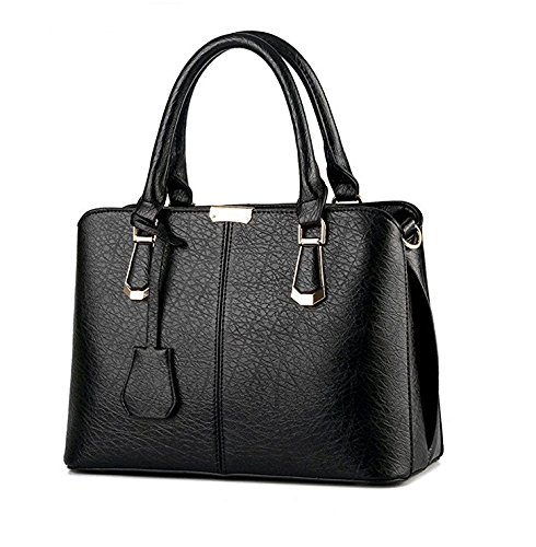 Heelinna - Bolso bandolera de piel sintética, negro, 30x15x37cm Negro
