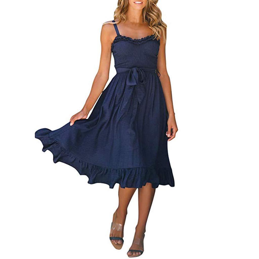 Kleid Damen Sommer Knielang ÄRmellos TräGerlos Gerafft A-Linie Kleid Midikleid Elegant Kleid Sommerkleid