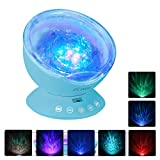 [Upgraded Model] Ecandy Remote Control Ocean Wave Projector ,Aurora Night Light Projector with Build-in Speaker, Mood Light for Baby Nursery, Adults and Kids Bedroom, Living Room (Blue)
