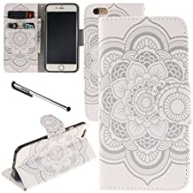 "iPhone 6 / iPhone 6S Case, Urvoix(TM) Card Holder Stand Leather Wallet Case - White Flower Flip Cover for 4.7"" iPhone6/6S (NOT for 6Plus)"