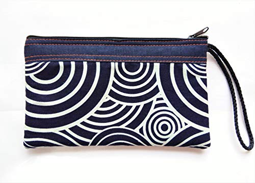 Tribal Vintage Bohemian Blue Navy Gypsy Spiral Swirls Circle Small Cosmetic Makeup Pen Pencil Cotton Fabric Bag Bags Cases Zipper Zip Purse Clutch Pouch Case for Handle Handmade Craft Handbag - Zip Spiral