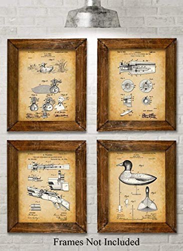 Original Duck Decoys Patent Art Prints - Set of Four Photos (8x10) Unframed - Great Gift for Duck Hunters -