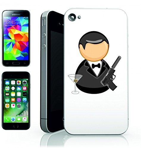 Smartphone Case Bond agente della tuta neri della Mosca della Comic Figure della criminalità di vetro Arma di uccidere Olive Martini per Apple Iphone 4/4S, 5/5S, 5C, 6/6S, 7& Samsung Galaxy S4, S5