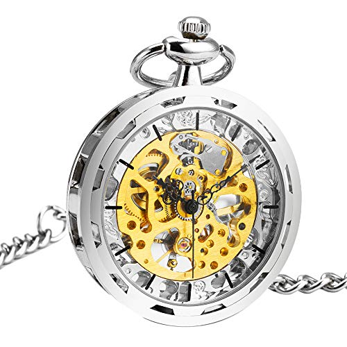 Watch Transparent Gold (ManChDa Mens Steampunk Transparent Open Face Pocket Watch Skeleton Dial Silver Case with Chain + Gift Box)
