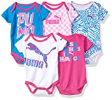 PUMA Girls' 5-Pack Short Sleeve Bodysuits