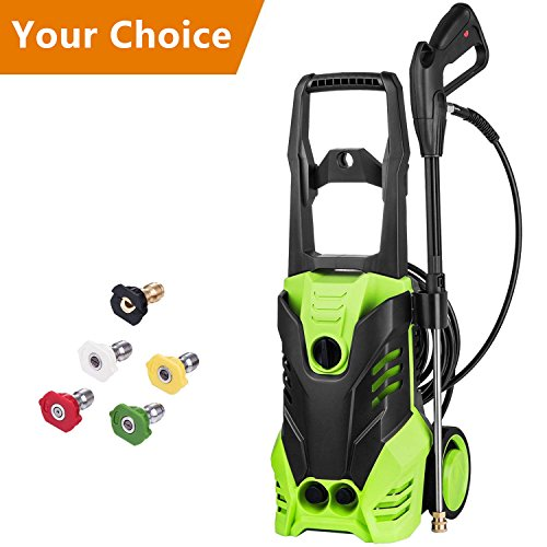 Tank Spray Nozzles - Meditool MT3 Electric Power Pressure Washer, 3000 PSI 1.8 GPM Electric Pressure Washer, Power Washer with Adjustable 5 Spray Nozzles, Onboard Detergent Tank, with 2 Rolling Wheels, 1800W (Green)