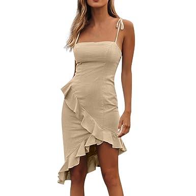 2c9d24a42001 MOOLILI Slim Hot Women Sleeveless Solid Ruffles Casual Mini Beach Sexy Dress  Backless Dress for Summer