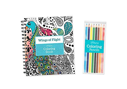 - 'Wings of Flight' Adult Spiralbound Coloring Book with 8 Colored Pencils