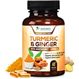 Turmeric Curcumin with Ginger 95% Curcuminoids 1950mg with Bioperine Black Pepper for Best Absorption, Anti-Inflammatory Joint Relief, Turmeric Supplement Pills by Natures Nutrition - 60 Capsules