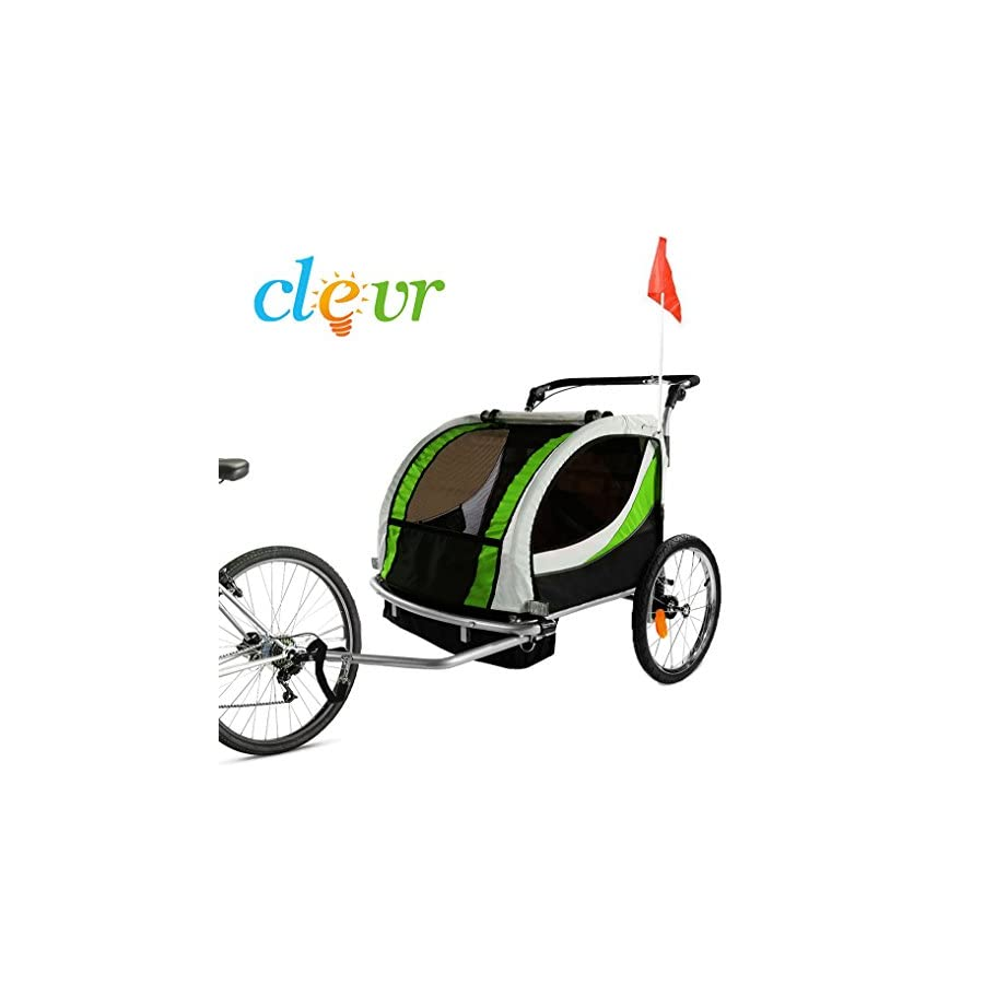 Clevr Green Collapsible 2 Seats 3 in 1 Double Bicycle Trailer Baby Bike Jogger/Stroller Jogging Running Kids Cart Bike | Suspension & Pivot Front Wheel