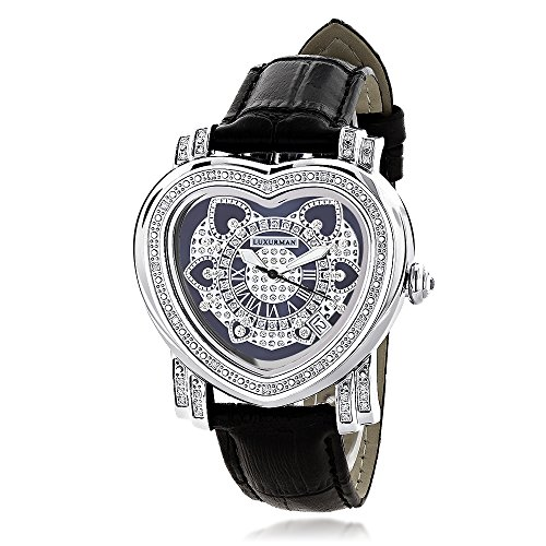 UPC 640206973656, Ladies Diamond Heart Watch 0.30ct Black Luxurman