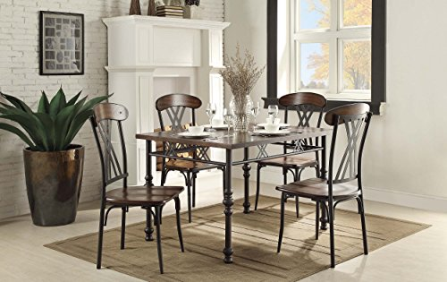 Homelegance Square Wood and Metal Counter Height Table, Brown/Black -  - kitchen-dining-room-furniture, kitchen-dining-room, kitchen-dining-room-chairs - 51MRDQVxoeL -