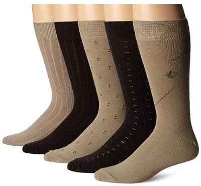 Dockers Men's 5-Pack Classics Dress Dobby Crew Socks
