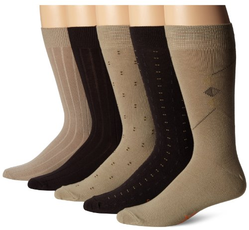 Dockers Men's Classics Dress Dobby Crew Socks (5 & 10 Packs), Khaki Assorted, Shoe Size: 6-12