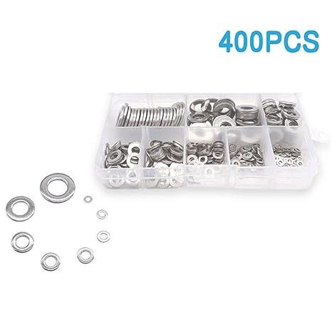 KKmoon Arandelas planas, 400 piezas Arandelas de acero ...