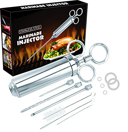 Heavy Duty Stainless Steel Meat Injector Syringe 2 Oz with 3 Needles, 3 Cleaning Brushes & SpareO Rings