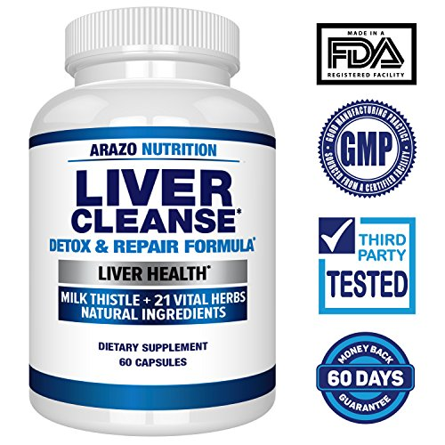 Liver Cleanse Detox & Repair Formula – 22 Herbs Support Supplement: Milk thistle Extracts Silymarin, Beet, Artichoke, Dandelion, Chicory Root – Arazo Nutrition USA by Arazo Nutrition (Image #1)