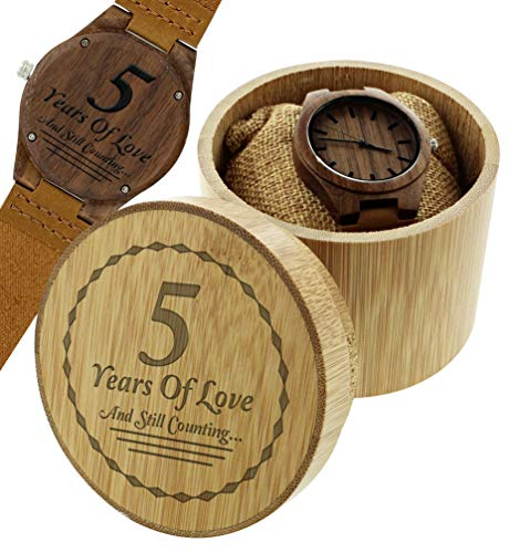 Wood Anniversary Gifts 5 Years of Love Still Counting Romantic Gifts Engraved Wooden Watch Gift Set