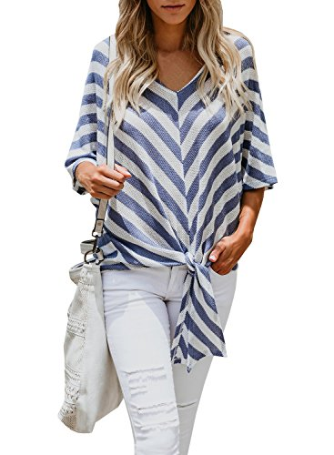 Ofenbuy Womens Casual Batwing Tops Tie Front V Neck Striped Mid Bats Sleeve Loose Pullover Sweater