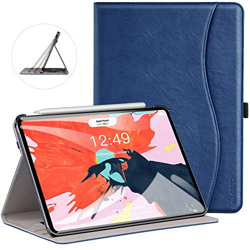 Ztotop Case for iPad Pro 11 Inch 2018 Release, Premium Leather Slim Multiple Viewing Angles Folding Stand Folio Cover with Auto Wake/Sleep (Support 2nd Gen Apple Pencil Wireless Charging),Blue